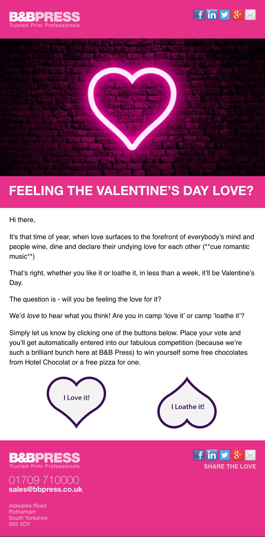 Valentine's Day campaign email